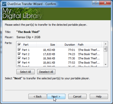 Selecting parts to transfer in the Transfer Wizard. See instrucitons above.
